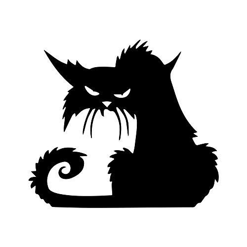 14.612.9CM Halloween Terror Cat Window Stickers Funny Cartoon Car Sticker Door Body Window Vinyl Stickers Car Accessories Black]()