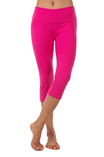 - ZEROGSC Women's Yoga Pants - Workout Running Tummy Control Stretch Power Flex Long/Capris Leggings (YPW102-Fuchsia-Large)