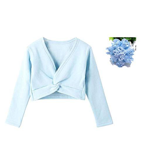 Girls Thick Ballet Long Sleeve Wrap Top Classic Dress Ballerina Cardigan Hairnet Light Blue