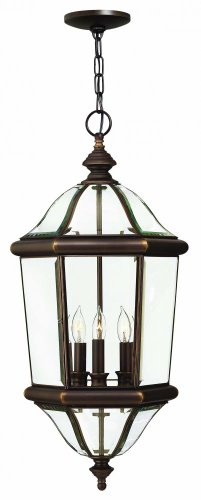Hinkley 2452CB Traditional Three Light Hanging Lantern from Augusta collection in Copperfinish,