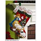 Bucilla 18-Inch Christmas Stocking Felt Applique Kit, 86170 Nativity Baby