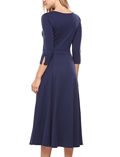 Casual Women's Long 4 Midi Swing Pockets Blue Dress Sleeve Navy Flare Loose ACEVOG 3 0qwB66H