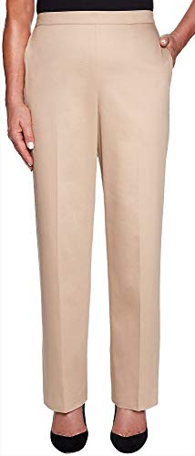 Alfred Dunner Womens Good to Go Classic Fit Pull On Pants 18 Short Tan