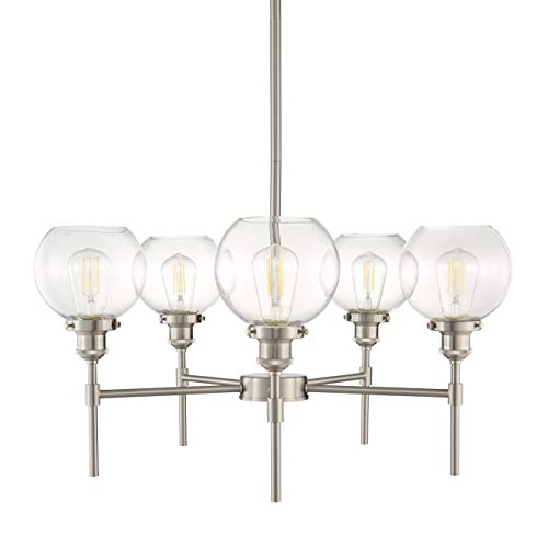 Primo 5 Light Chandelier Brushed Nickel Industrial Hanging Light Fixture LL-CH425-BN