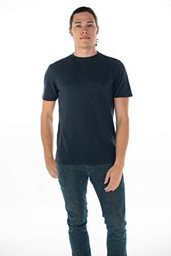 ONNO Men's Hemp T-Shirt (L, Navy - Mens Organic Tee