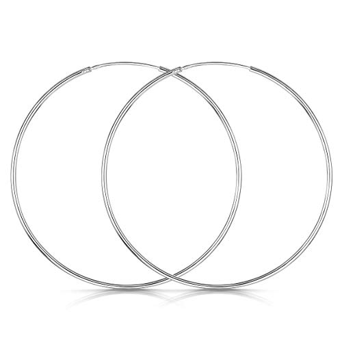 - Amberta 925 Sterling Silver Fine Circle Endless Hoops - Polished Round Sleeper Earrings Diameter Size: 20 30 40 60 80 mm (60mm)