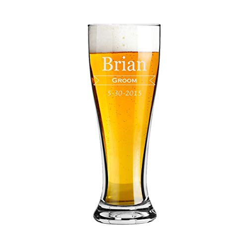Groomsmen 16 ounce Pilsner Pint Beer Glass with a Classic Design Custom Engraved including Choices of Titles, Names and -