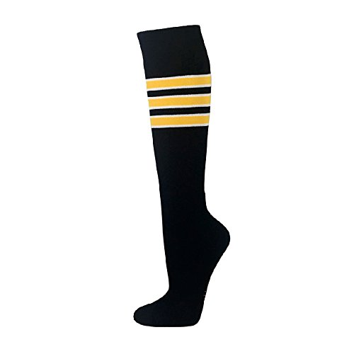 (Black with White/Yellow Stripe Like Pittsburgh Pirates Similar Style Knee High Sport Socks)