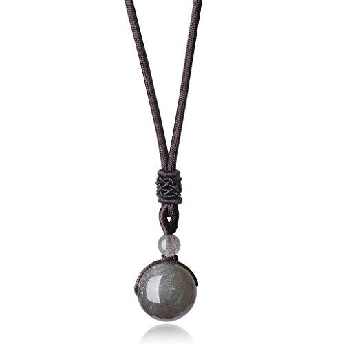COAI Chakra Stones Healing Labradorite Prayer Crystals Pendant Adjustable Cord (Pendant Crystal Labradorite)