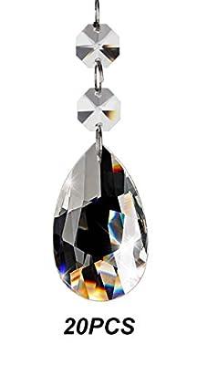 Fushing 20Pcs Crystal Teardrop Chandelier Prisms Pendants Parts Beads