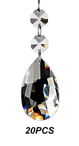Fushing 20Pcs Chandelier Crystals, Clear Teardrop Crystal Chandelier Pendants Parts Beads, Hanging Crystals for Chandeliers (38mm, (Crystal Prism Pendant)