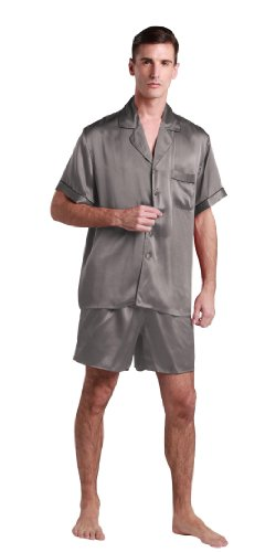 LILYSILK TM Men 22 Momme Contrast Trim Short Silk Pajama Set 100% Pure Silk Dark Gray L by LilySilk