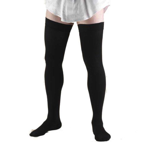 Truform 1945, Chaussettes de compression, Cuisse Haute, 20-30 mmHg, Noir, X-Large