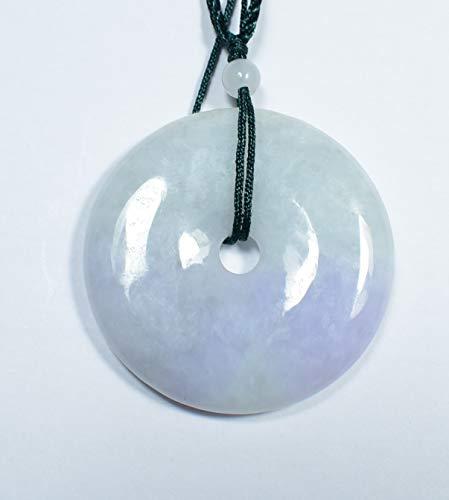 gojade Certified Lavender Green Natural A Jade Jadeite Pendant Circle Donut 平安扣 701710