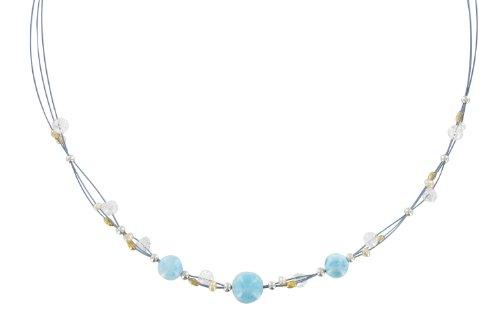 Les Poulettes Bijoux - V Collier Câble Bleu Perles Larimar et Cristal de Roche