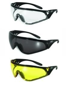 Set of 3 PAIRS: PADDED MOTORCYCLE RIDING GLASSES - DAY NIGHT DAWN DUSK SMOKED CLEAR YELLOW Shatterproof Polycarbonate Lenses UV400 Filter for Maximum UV Protection Scratch Resistant Coating