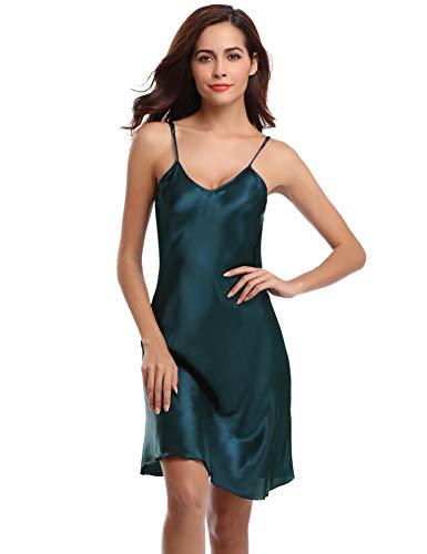 Aibrou Sexy Nightshirts Satin Spaghetti Strap Chemises Slip Nightgown Sleepwear Green ()