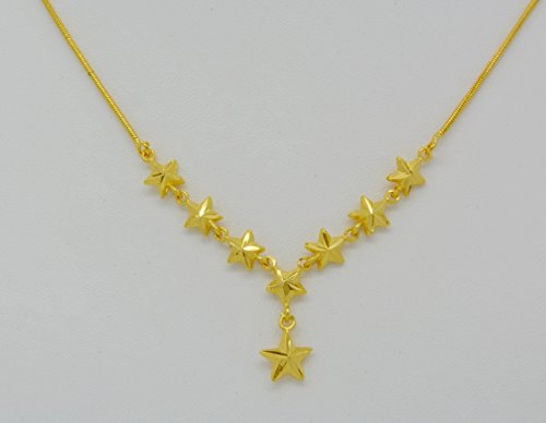 Gorgeous 22k 23k 24k Yellow Gold Plated Women Star Pendant Beads Heart Drop Necklace 17