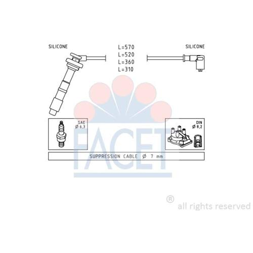 Facet 4.8608 Ignition Leads Kit: