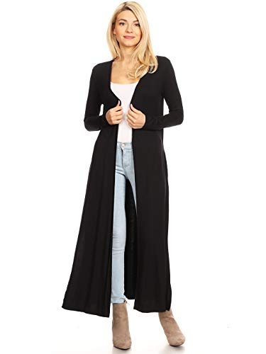 Anna-Kaci Womens Trendy Knit Extra Long Duster Slit Open Front Cardigan w Pockets, Black, Small