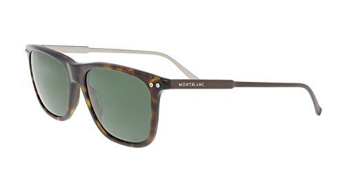 Mont Blanc MB600S 52R Havana Rectangular Sunglasses ()