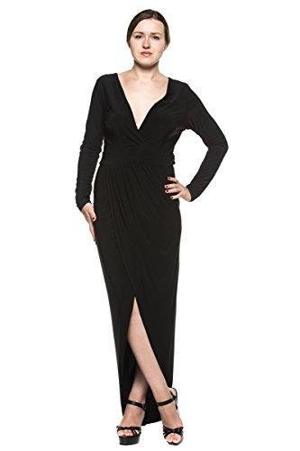 Women's Black Low-Cut Plunge V Neck Formal Evening Party Wrap Gown Long Dress (2XL)