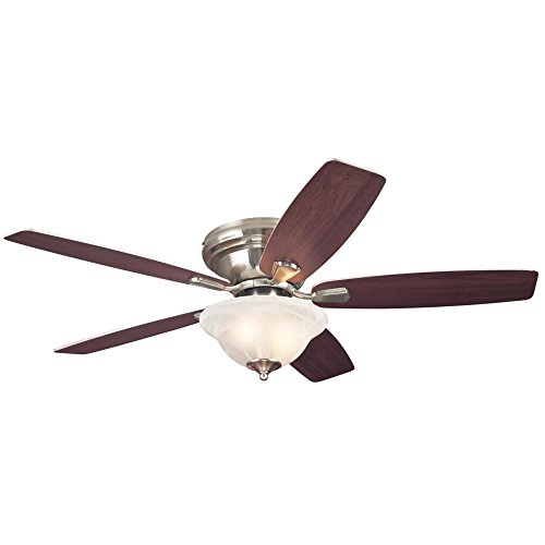 Westinghouse Lighting 7247600 Sumter Two-Light Reversible Five-Blade Indoor Ceiling Fan, 52-Inch, Brushed Nickel Finish with Frosted White Alabaster Glass Bowl