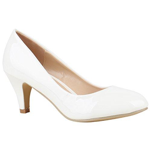 Stiefelparadies Klassische Damen Pumps Stiletto Absatzschuhe Mid Heels Party Schuhe Glitzer Abendschuhe Abiball Flandell Weiss Lack