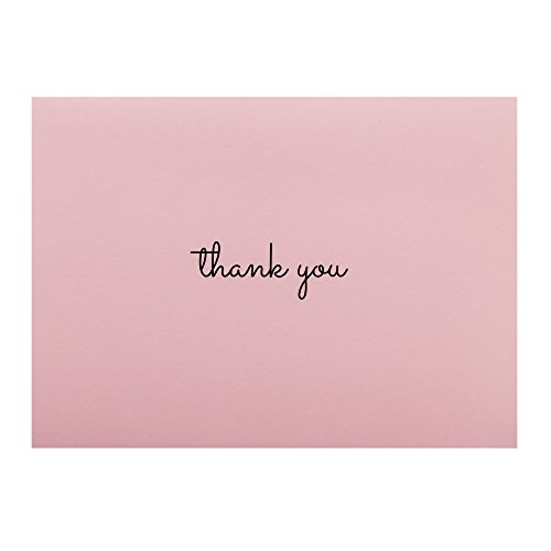 Thank You Cards | Pink - Set of 50 | 4 x 5.5 inches | Grey Envelopes | Elegant Design | Blank on the Inside | Perfect for Birthdays, Showers, Weddings, Business Photo #2