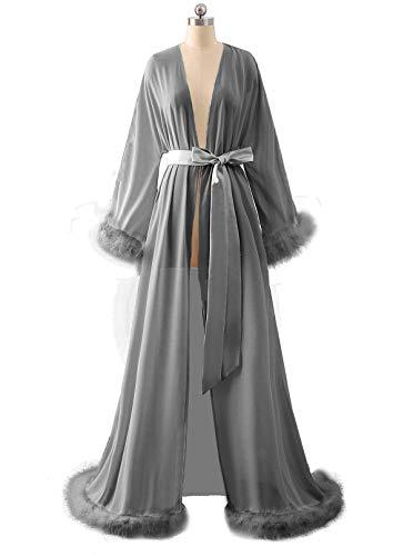 - BBCbridal Women's Sexy Chiffon Feathers Long Lingerie Nightgown Robe Collar Perspective Sheer Bathrobe Sleepwear B Grey S/M