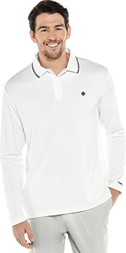 Coolibar UPF 50+ Men's Long Sleeve Links Golf Polo - Sun Protective (XX-Large- White Pique)