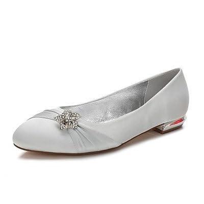 Le meilleur cadeau pour femme et mère Femme Chaussures Satin Printemps Eté Confort Ballerine Chaussures de mariage Talon Plat Bout rond Strass Noeud Appliques Fleur en Satin, us6/eu36/uk4/cn36