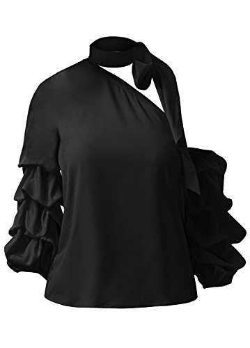 Gobought Blouse Sexy Off The Shoulder Halter Long Ruffle Bodycon Cocktail Tops T Shirt (Evening Halter Top)