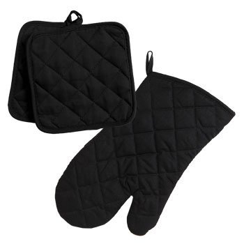 Thick Black Cotton-Quilted Oven Mitt and Pot Holders Kitchen Linen 3pc Set