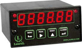 Laurel Electronics L61105QD Quadrature Meter for Position, Six Red LED Digits, 10-48 Vdc Power, Two Isolated Analog Outputs, USB Data I/O