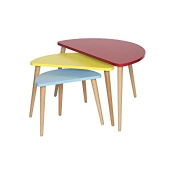 Lovely Mid Century Modern Tri Color Nesting Tables   Set Of 3 (Red / Yellow