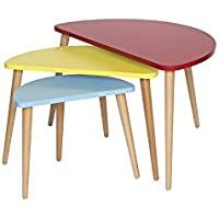 Mid Century Modern Tri-Color Nesting Tables - Set of 3 (Red / Yellow / Blue)