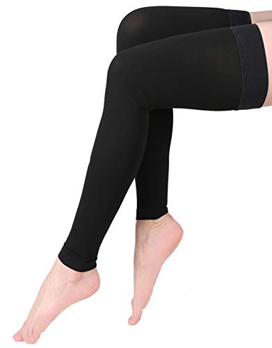 Footless Compression Stockings, KEKING Opaque Thigh High Compression Sleeves. Firm Support 20-30 mmHg Gradient Compression with Silicone Band, Treatment Swelling, Varicose Veins, Edema. Black M ()
