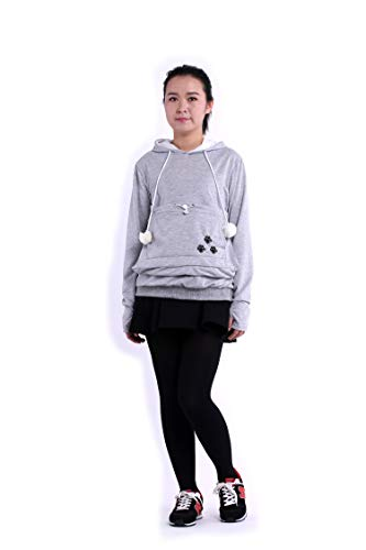 SAIANKE Womens Hoodies Pet Holder Cat Dog Kangaroo Pouch Carriers Pullover - Small - Grey]()