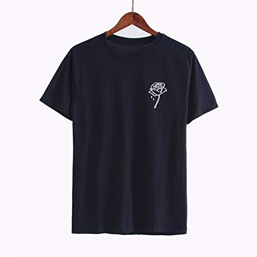 (Woman Pure Color T-Shirts Fashion Cotton Rose Printed Vogue T Shirt Summer t Shirt Tee Tops)