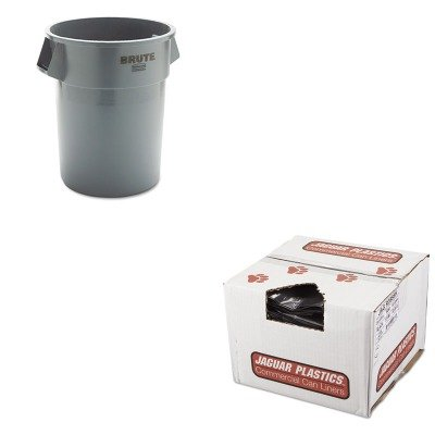 KITJAGR3858HRCP265500GY - Value Kit - Jaguar Plastics R3858H Black Low Density 1.5 Mil Repro Can Liners, 55-56 Gallons (JAGR3858H) and Rubbermaid 2655 BRUTE Container without Lid (RCP265500GY) by Jaguar Plastics