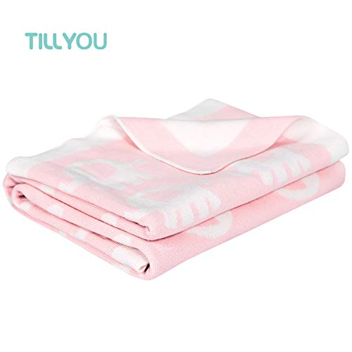 Premium Cotton Knitted Baby Blanket Breathable Summer Swaddle Blanket for Newborn Ultra Soft Toddler Bed Crib Quilt for Boys Girls Hypoallergenic Lightweight Receiving Blanket, Pink Elephants, 30x40