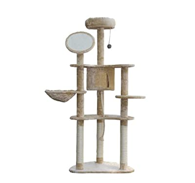 "Pawhut 60"" Cat Tree Condo Pet Scratcher Furniture - Cream from Pawhut"