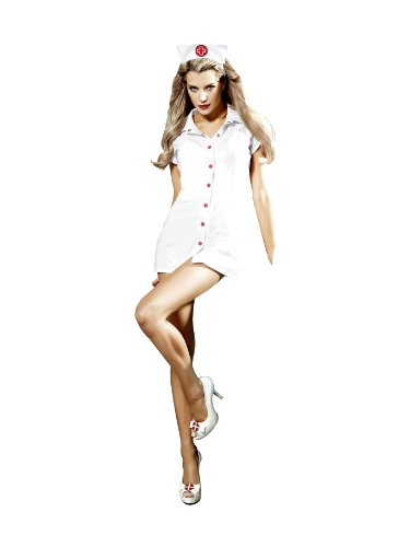 Baci Lingerie Women's Dreams Nurse Dress and Headwear Set, White/Red, One Size
