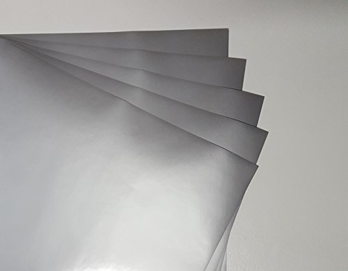 Silver Metallic (Glossy) 5-Pack of Adhesive Vinyl Sheets - 12