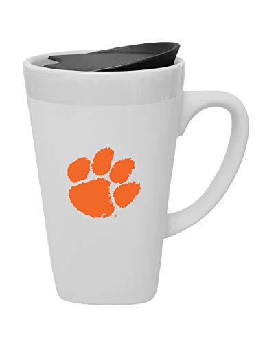 - The Fanatic Group Clemson Ceramic Mug with Swivel Lid, Design-1 - White