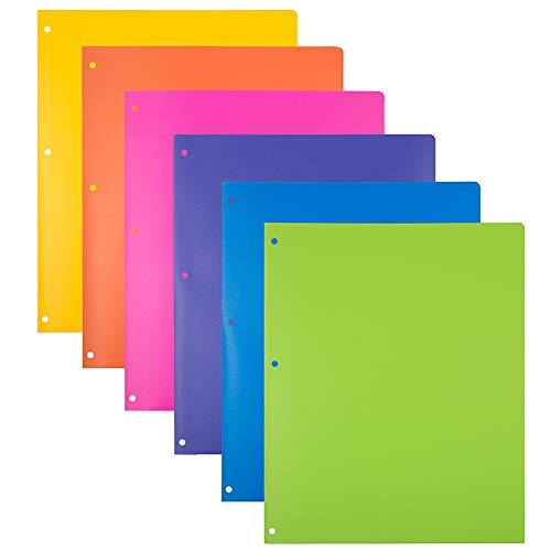 - JAM PAPER Heavy Duty Plastic 3 Hole Punch School Folders with Pockets - Assorted Fashion Colors - 6/Pack