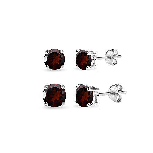2 Pair Set Sterling Silver Garnet Round Stud Earrings for Teen Girls 4mm 6mm
