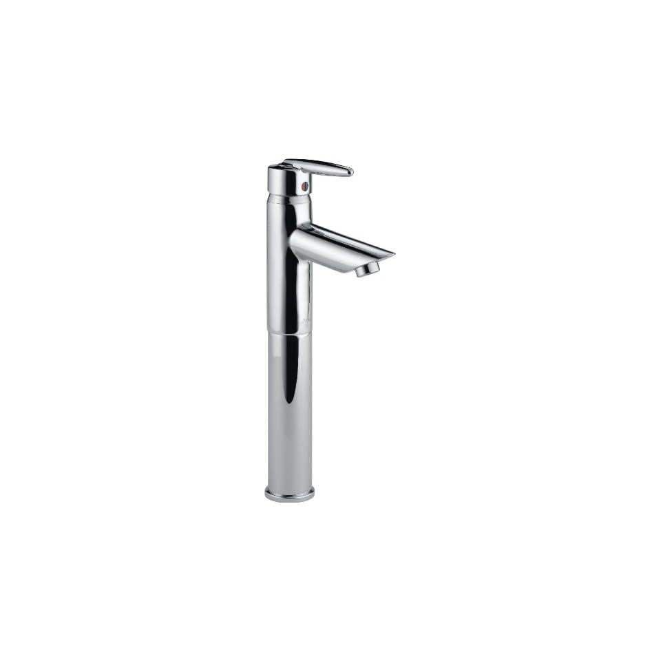 Delta 585LF V Grail Single Handle Centerset Lavatory Faucet with Riser   Less Pop Up, Chrome