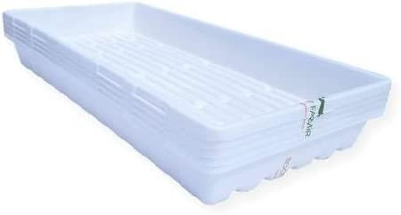 Bootstrap Farmer 1020 Trays White Extra Strength - 5 Pack No Hole - Seed Starter Flats for Fodder Microgreen Seedling Propagation Growing